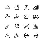 16 Construction Outline Icons.