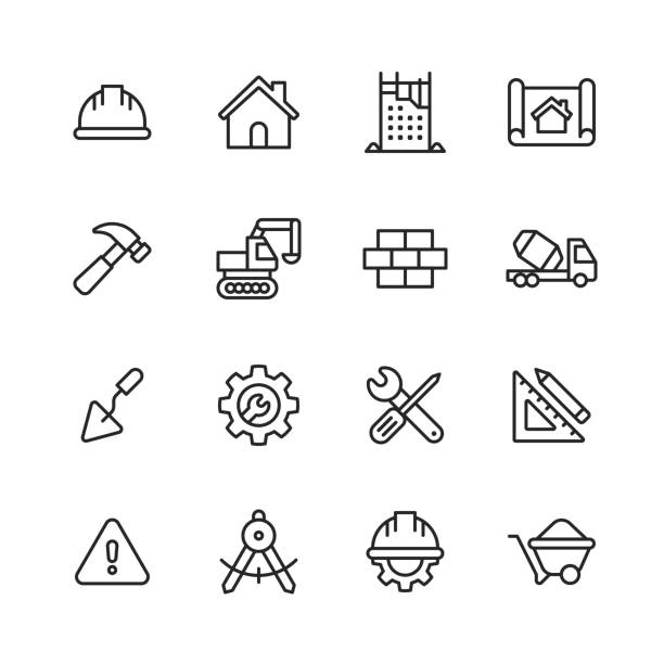 Construction Line Icons. Editable Stroke. Pixel Perfect. For Mobile and Web. Contains such icons as Construction, Repair, Renovation, Blueprint, Helmet, Hammer, Brick, Work Tools, Spatula. 16 Construction Outline Icons. built structure stock illustrations