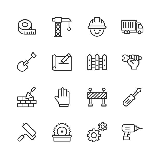 Construction Line Icons. Editable Stroke. Pixel Perfect. For Mobile and Web. Contains such icons as Construction, Repair, Warning Sign, Screwdriver, Glove, Painting Roll, Blueprint. vector art illustration