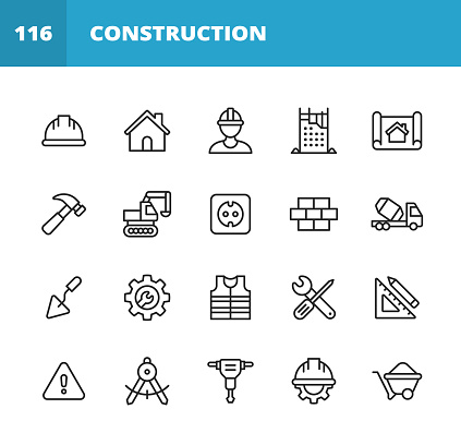 Construction Line Icons. Editable Stroke. Pixel Perfect. For Mobile and Web. Contains such icons as Construction, Repair, Renovation, Blueprint, Helmet, Hammer, Brick, Work Tools, Spatula, Warning Sign, Bulldozer, Drill, Cement, Digging, Wrench, Ruler.