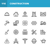 20 Construction Outline Icons.
