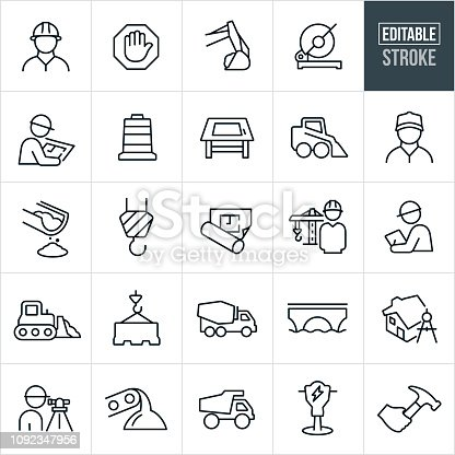 A set of construction icons that include editable strokes or outlines using the EPS vector file. The icons include construction workers, engineers, construction sign, excavator, electric saw, blueprint, blue collar worker, working, traffic cone, drawing table, skid steer, cement, construction crane, inspector, bulldozer, traffic barrier, cement truck, bridge, home, land surveyor, dump truck, jack hammer, and hammer to name a few.
