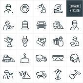 Construction Line Icons - Editable Stroke