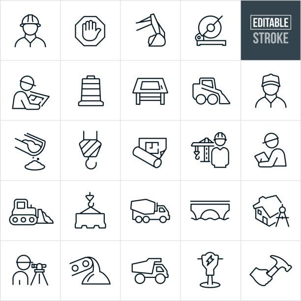 ilustraciones, imágenes clip art, dibujos animados e iconos de stock de construcción línea iconos - trazo editable - obrero de la construcción