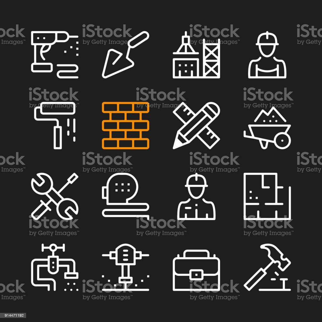 Bau Linie Symbole Moderne Grafische Elemente Minimale Einfache ...