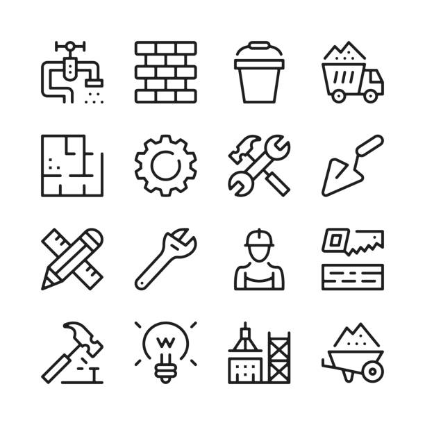construction line icons set. modern graphic design concepts, simple outline elements collection. vector line icons - mieszkanie komunalne stock illustrations
