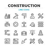 Construction line icons set. Modern outline elements, graphic design concepts. Stroke, linear style. Simple symbols collection. Vector line icons