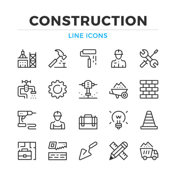 Construction line icons set. Modern outline elements, graphic design concepts. Stroke, linear style. Simple symbols collection. Vector line icons Construction line icons set. Modern outline elements, graphic design concepts. Stroke, linear style. Simple symbols collection. Vector line icons renovation stock illustrations