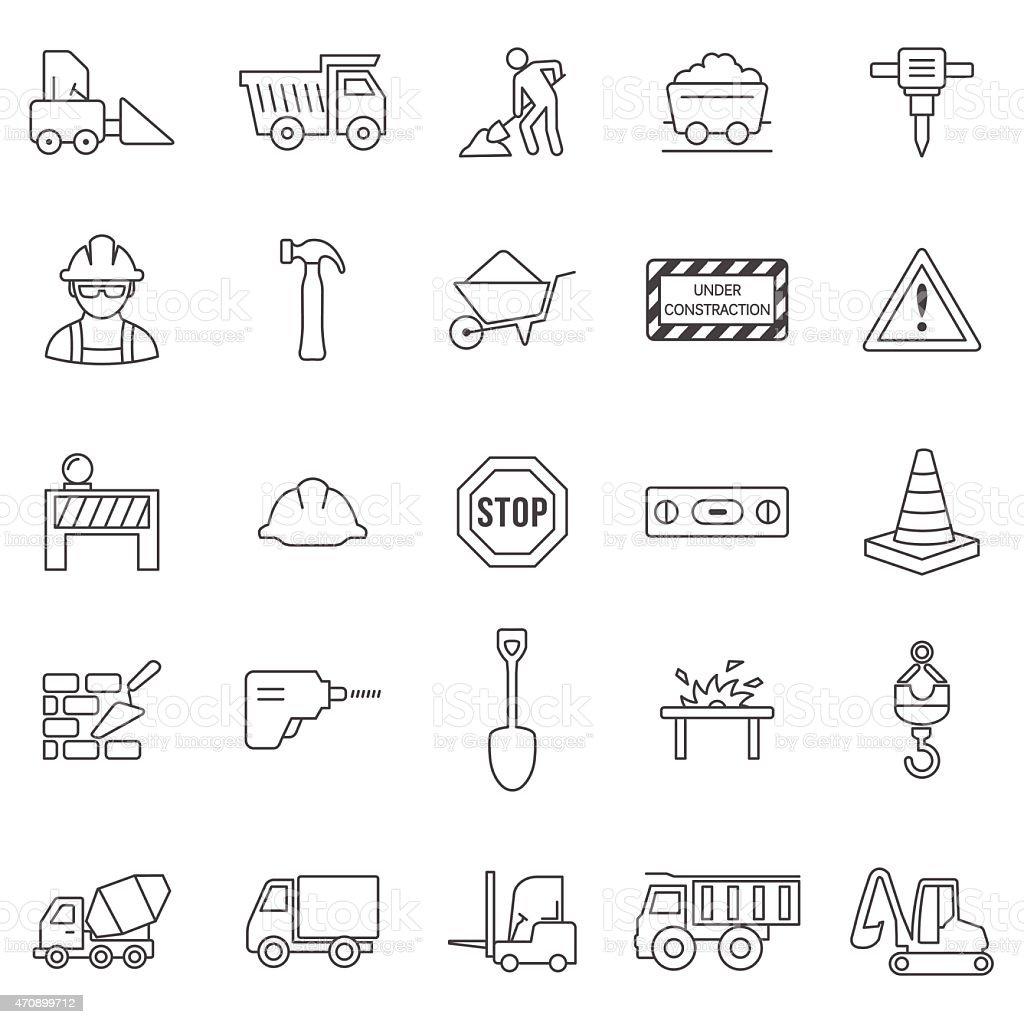 Construction line icons set.Vector vector art illustration