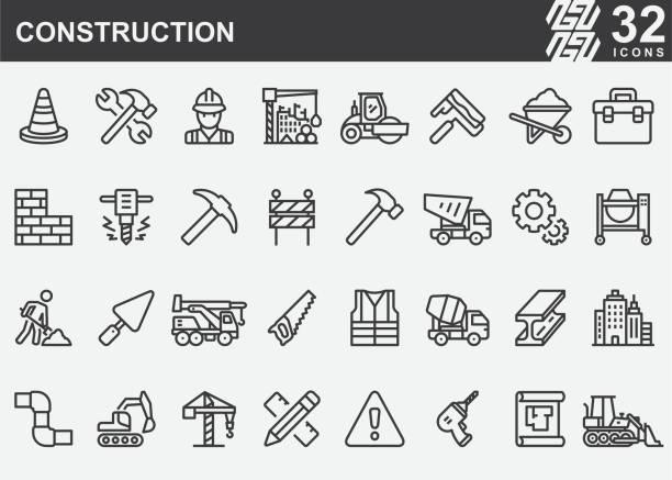 illustrazioni stock, clip art, cartoni animati e icone di tendenza di icone della linea di costruzione - costruire