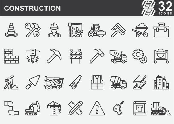 Construction Line Icons Construction Line Icons construction industry stock illustrations