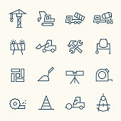 Construction industry line vector icon set