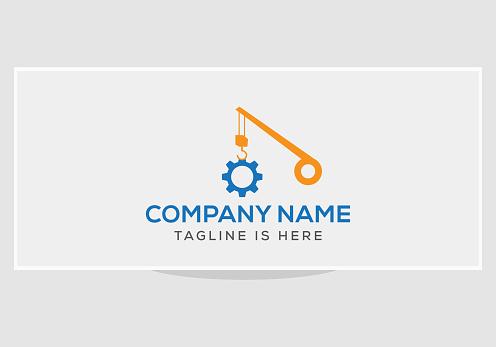 Construction logo Design with crane and gear concept.