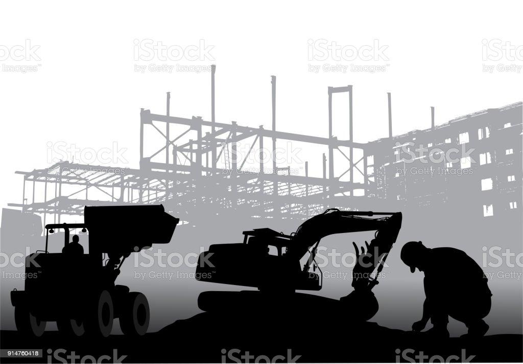 Bau lange Stunden – Vektorgrafik