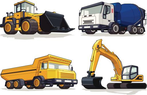 Construction Machine - Bulldozer, Cement Mixer, Haul Truck & Excavator