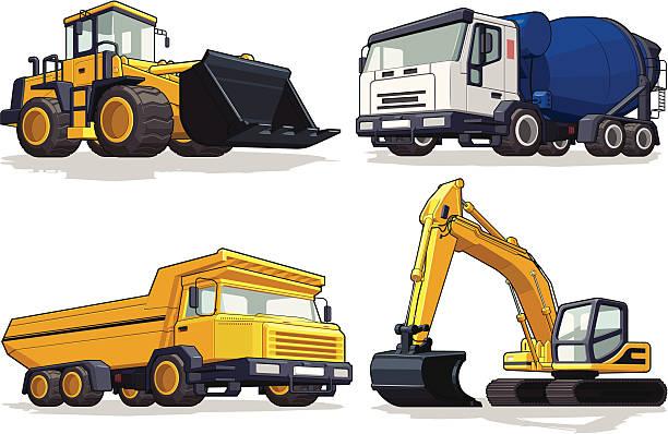 bildbanksillustrationer, clip art samt tecknat material och ikoner med construction machine - bulldozer, cement mixer, haul truck & excavator - traktor pulling