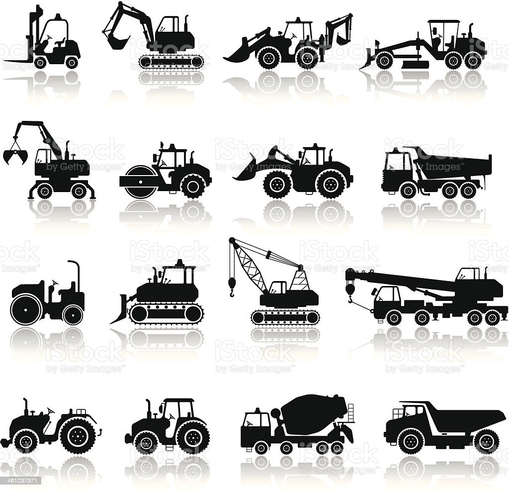 Construction Machine Icon Set vector art illustration