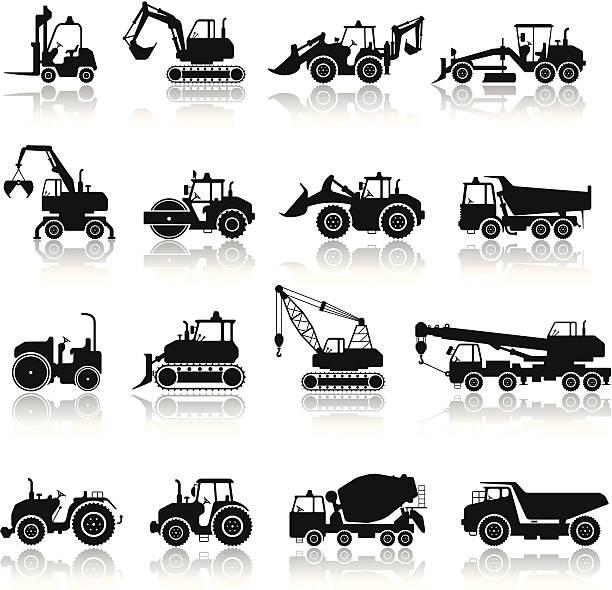 stockillustraties, clipart, cartoons en iconen met construction machine icon set - shovel