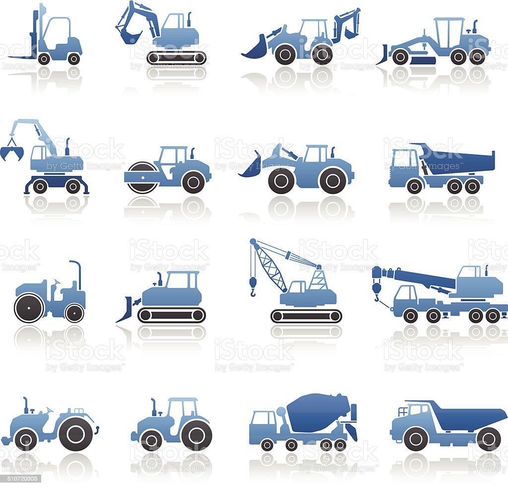 Construction Machine Icon Set vector art illustration