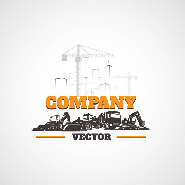 stockillustraties, clipart, cartoons en iconen met bouwmachines en gebouwen. - shovel