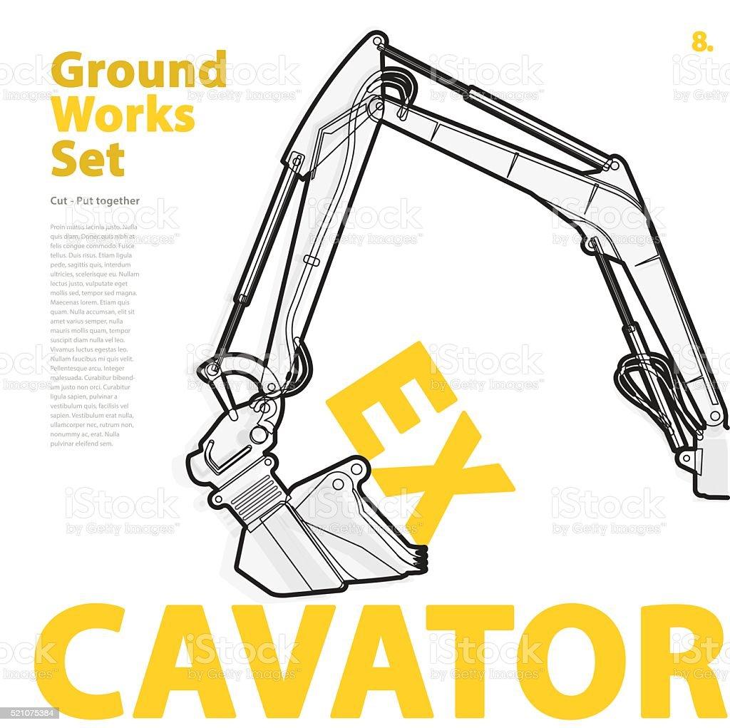 Baumaschine, Bagger. Typografie ein Satz von Boden ist Geräte Fahrzeuge. – Vektorgrafik