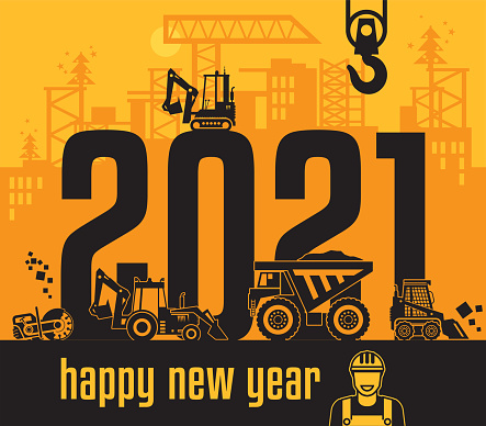 Construction machinery, Happy New Year card