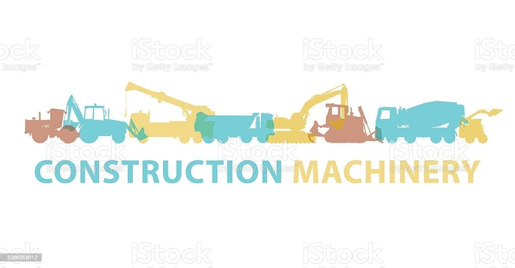 Baumaschinesymbol Symbol Boden Tafel Geräte Fahrzeuge Marke Vektor ...