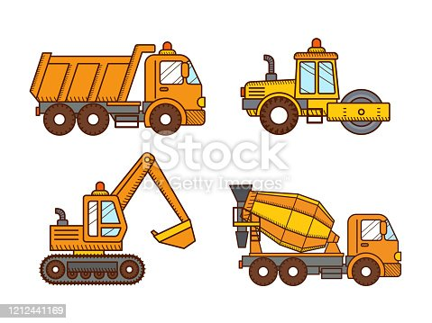 istock Construction machinery road roller, concrete mixer truck, excavator, dump truck. 1212441169