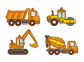 Construction machinery road roller, concrete mixer truck, excavator, dump truck isolated on white background