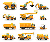 Construction machinery - isolated vector illustrations set on a white background.