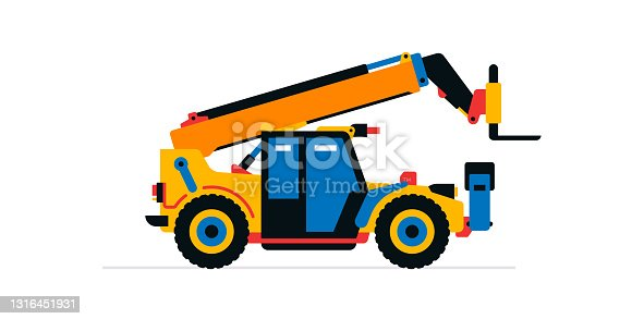 istock Construction machinery, telehandler. Commercial vehicles for work on the construction site. Vector illustration isolated on white background. 1316451931