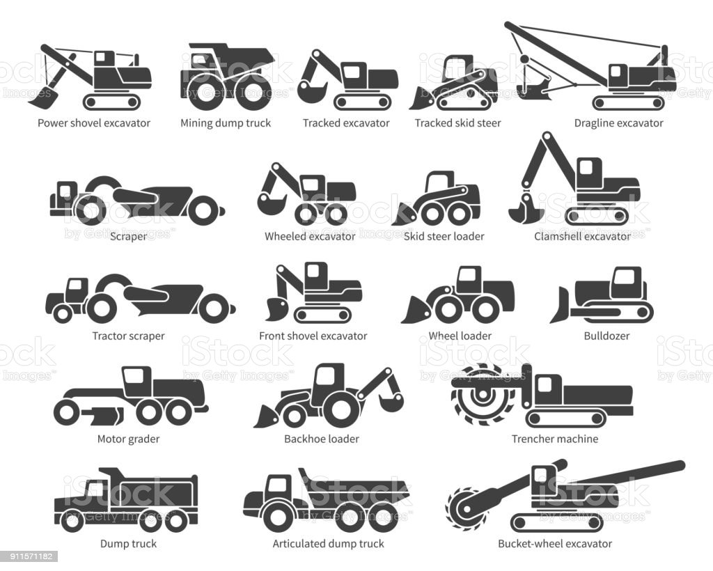 Construction machinery vector icons set vector art illustration