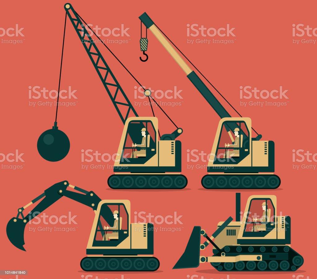 Construction Machinery - ilustração de arte vetorial