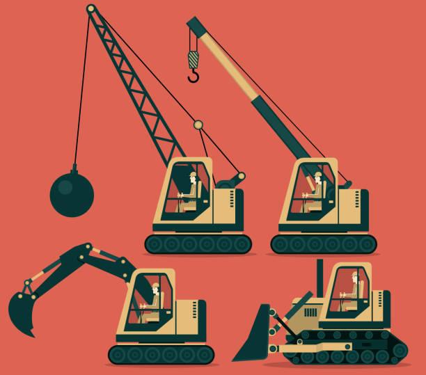ilustrações de stock, clip art, desenhos animados e ícones de construction machinery - greve