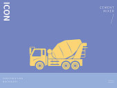 Construction Machinery,Cement Mixer, Cement, Cement Truck,vector icon.