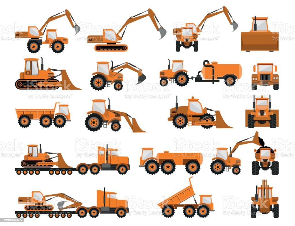 Construction machines and equipment vector art illustration