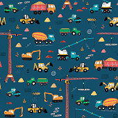 Construction machines building hand drawn doodle cartoon seamless pattern