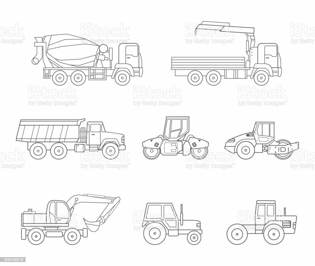 Construction Machines Icons Set Thin Line Style Stock Illustration