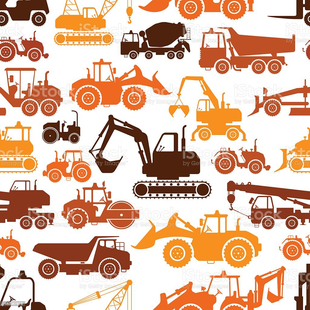 Construction Machines Pattern vector art illustration