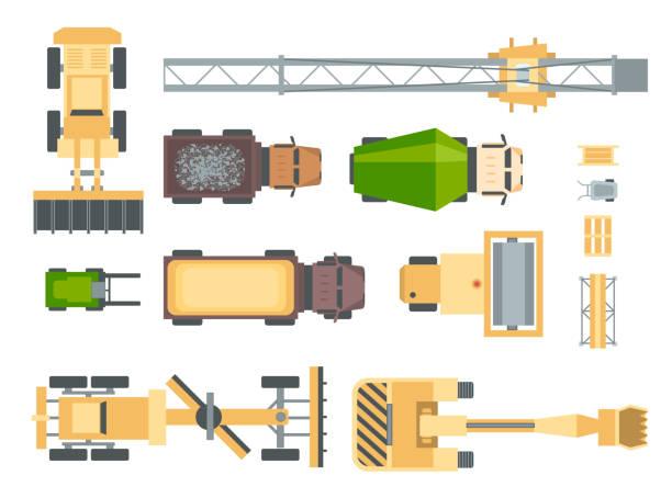 stockillustraties, clipart, cartoons en iconen met bouwmachines - set van moderne vector-elementen - shovel