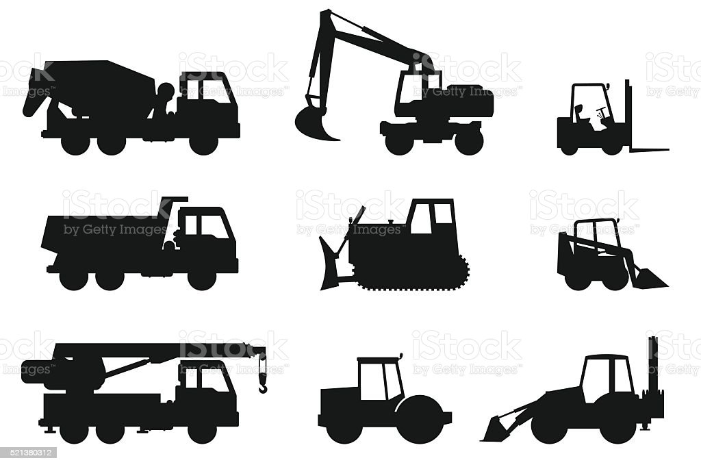 Construction machines silhouettes. vector art illustration