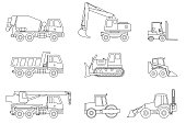 Construction machines thin icons.