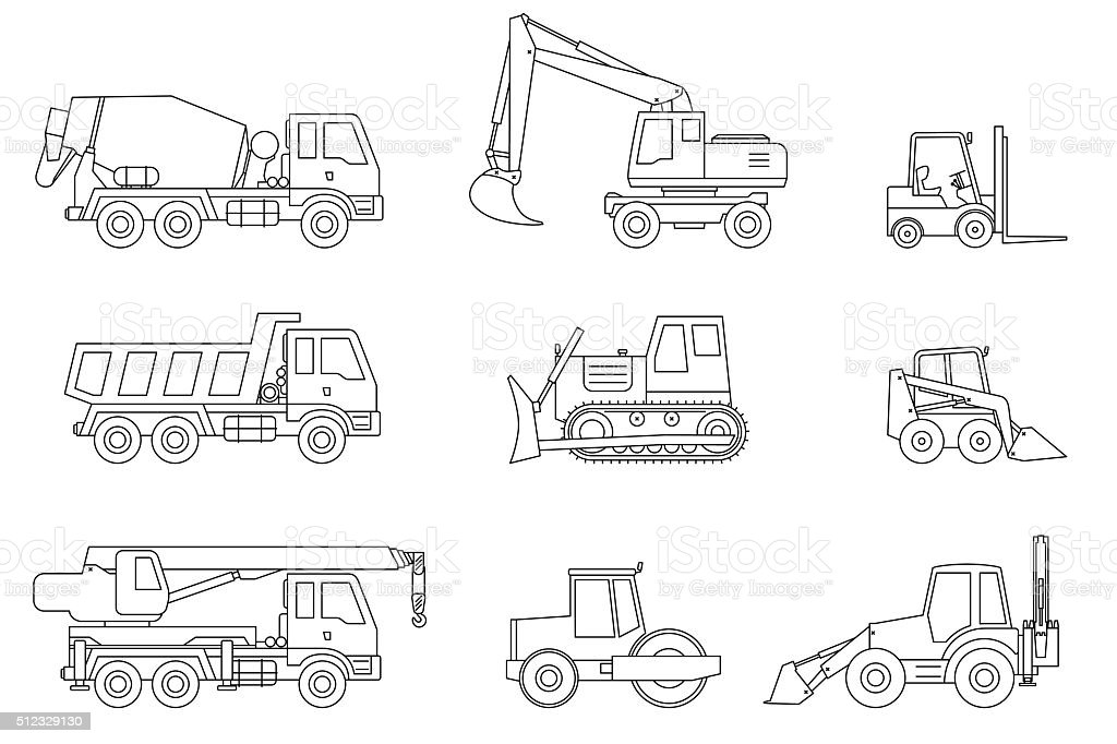 Construction machines thin icons. vector art illustration