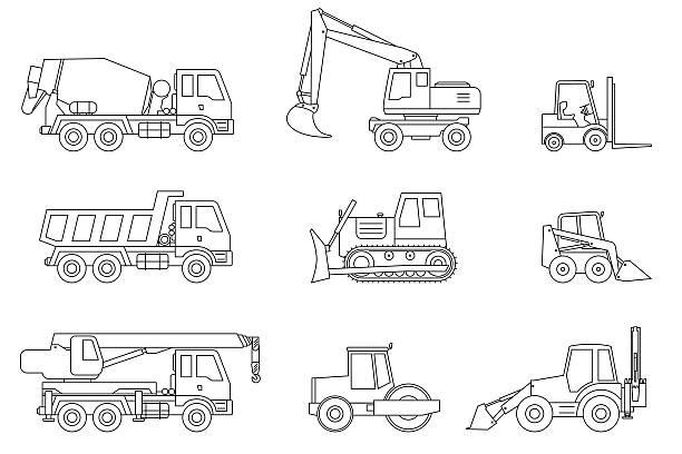 stockillustraties, clipart, cartoons en iconen met construction machines thin icons. - shovel