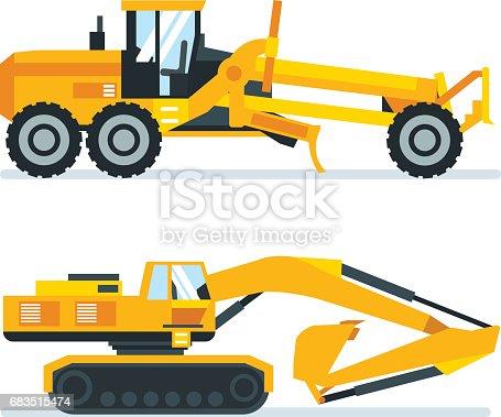 Construction machinery concept. Set construction machines, trucks, vehicles for transportation, asphalt, concrete mixing, crane. Vector illustration isolated on white background.