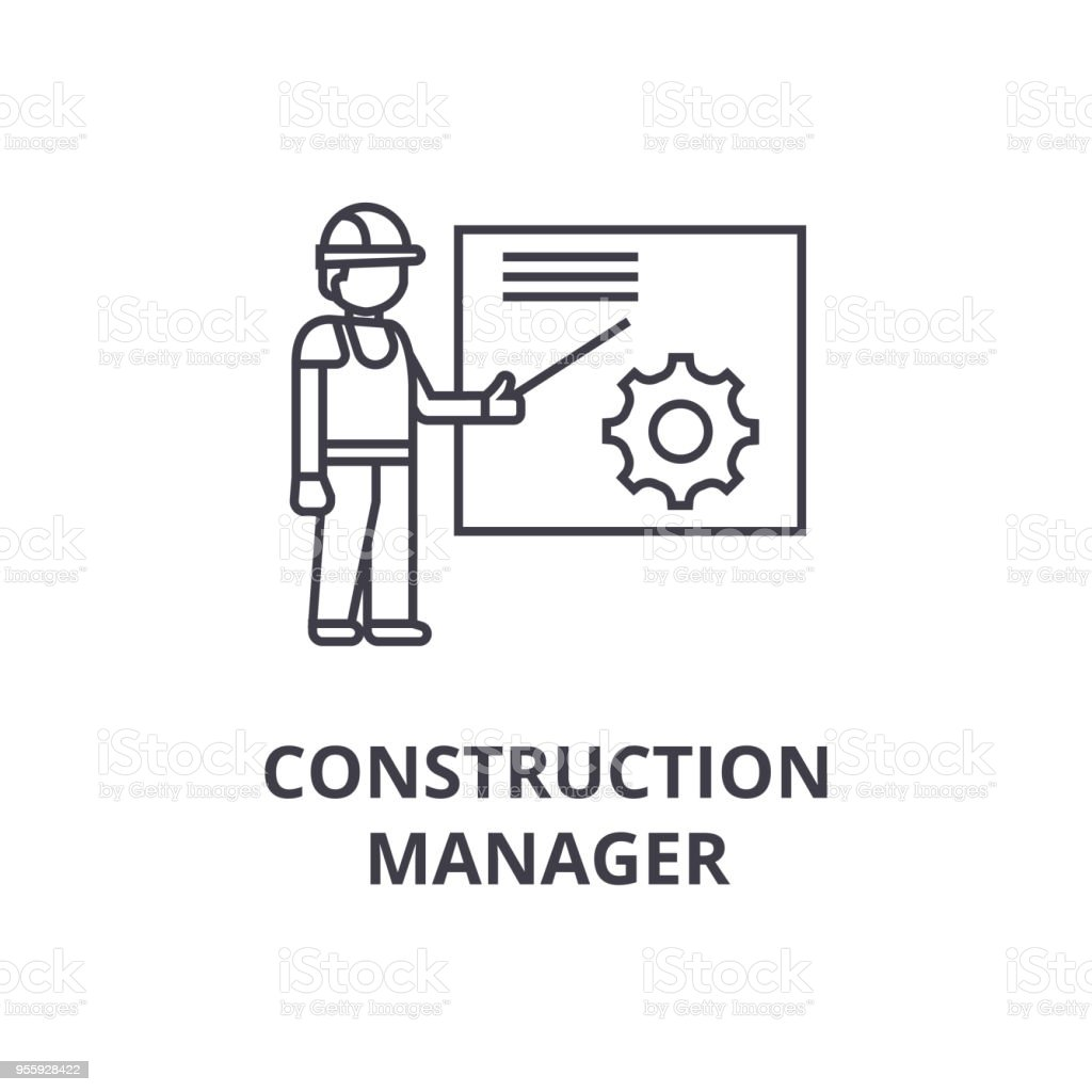 construction manager vector line icon, sign, illustration on background, editable strokes vector art illustration