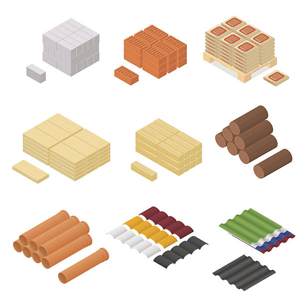 construction material isometric view. vector - 목재 재료 stock illustrations