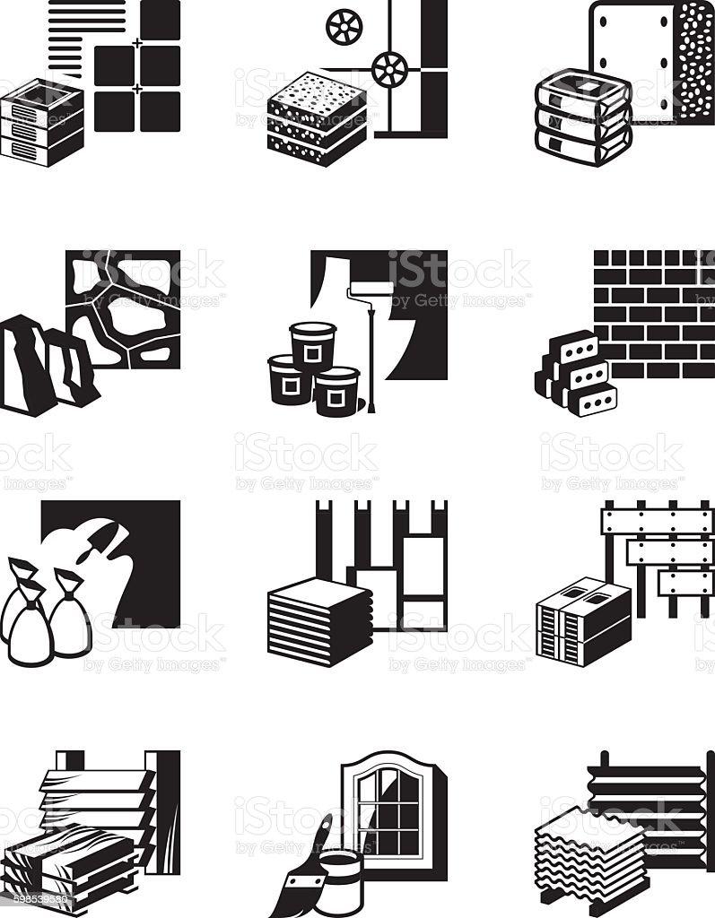 Construction materials and building details construction materials and building details – cliparts vectoriels et plus d'images de affaires libre de droits