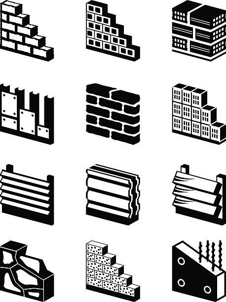 baumaterialien für wände - granitplatten stock-grafiken, -clipart, -cartoons und -symbole