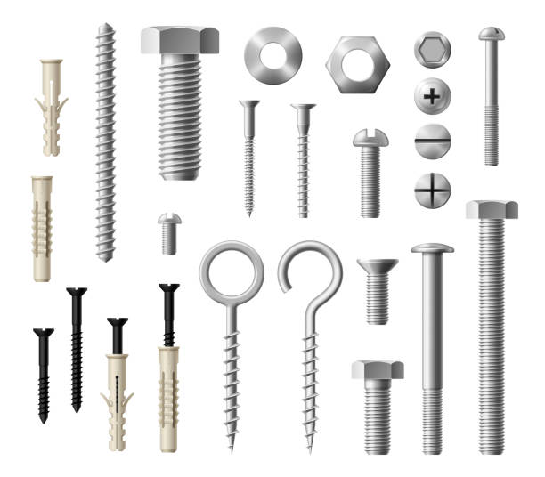 Construction metal fasteners screws and bolts Construction fasteners isolated realistic set of screws, bolts and nuts. Vector metallic lag screws, bolts and hex cap nuts, eye hooks and drywalls with twinfasts and wood fasteners nail work tool stock illustrations